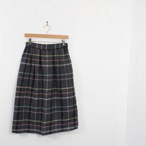 Vintage Pendleton Plaid Wool Skirt Mid Calf